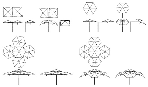 Parasol drawings umbrellas dwg umbrosa dwg for Arredo giardino dwg