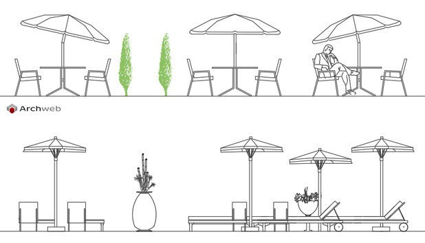 Ombrelloni 2d disegni dwg for Arredo giardino dwg