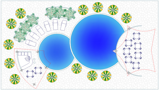 Garden pools dwg drawings for Arredo giardino dwg