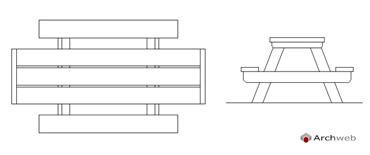 tavoli giardino dwg 2d