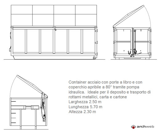 Container per deposito e trasporto rifiuti for Arredo ufficio dwg