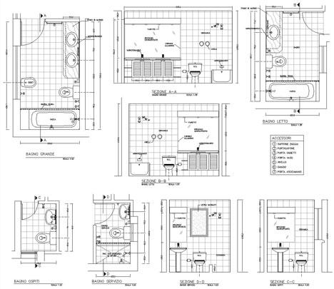 Bagni completi progetti di bagni cad dwg - Mq minimi bagno ...