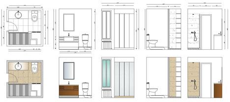 Bagni completi, progetti di bagni cad dwg