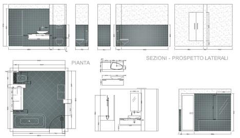 Bagni completi progetti di bagni cad dwg 2 for 2 piani letto 2 bagni