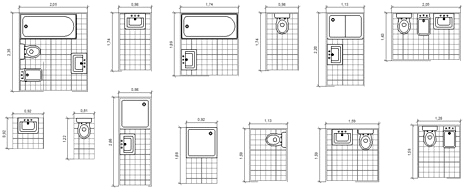 Bagni completi progetti di bagni cad dwg 2 - Dimensioni sanitari bagno piccoli ...