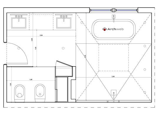 Schemi progetti bagni civile abitazione dwg 4 - Misure impianto idraulico bagno ...