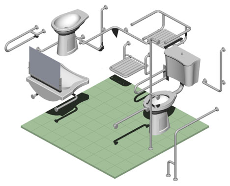 disegno 3d di un bagno per diversamente abili schema generale con elementi base