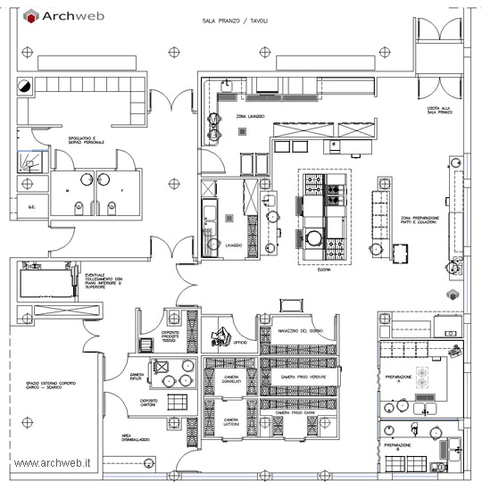 Cucina trattoria dwg for Cucine 3d dwg