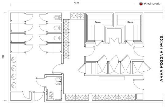 Area spogliatoi servizi autocad dwg spa baths - Bagno pubblico dwg ...