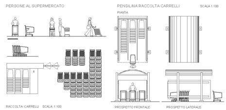 Carrelli della spesa dwg shopping trolleys drawings for Progettazione mobili 3d