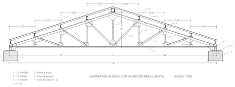 Capriata in acciaio dwg for Capriate in ferro