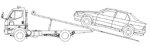 Camion rifiuti al traino -