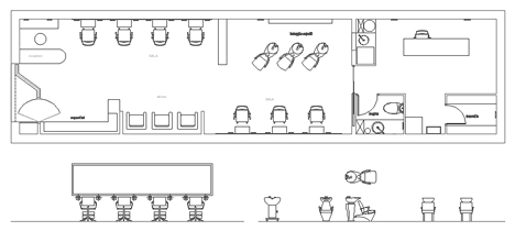 Parrucchiere dwg hairdresser drawings for Arredo ufficio dwg