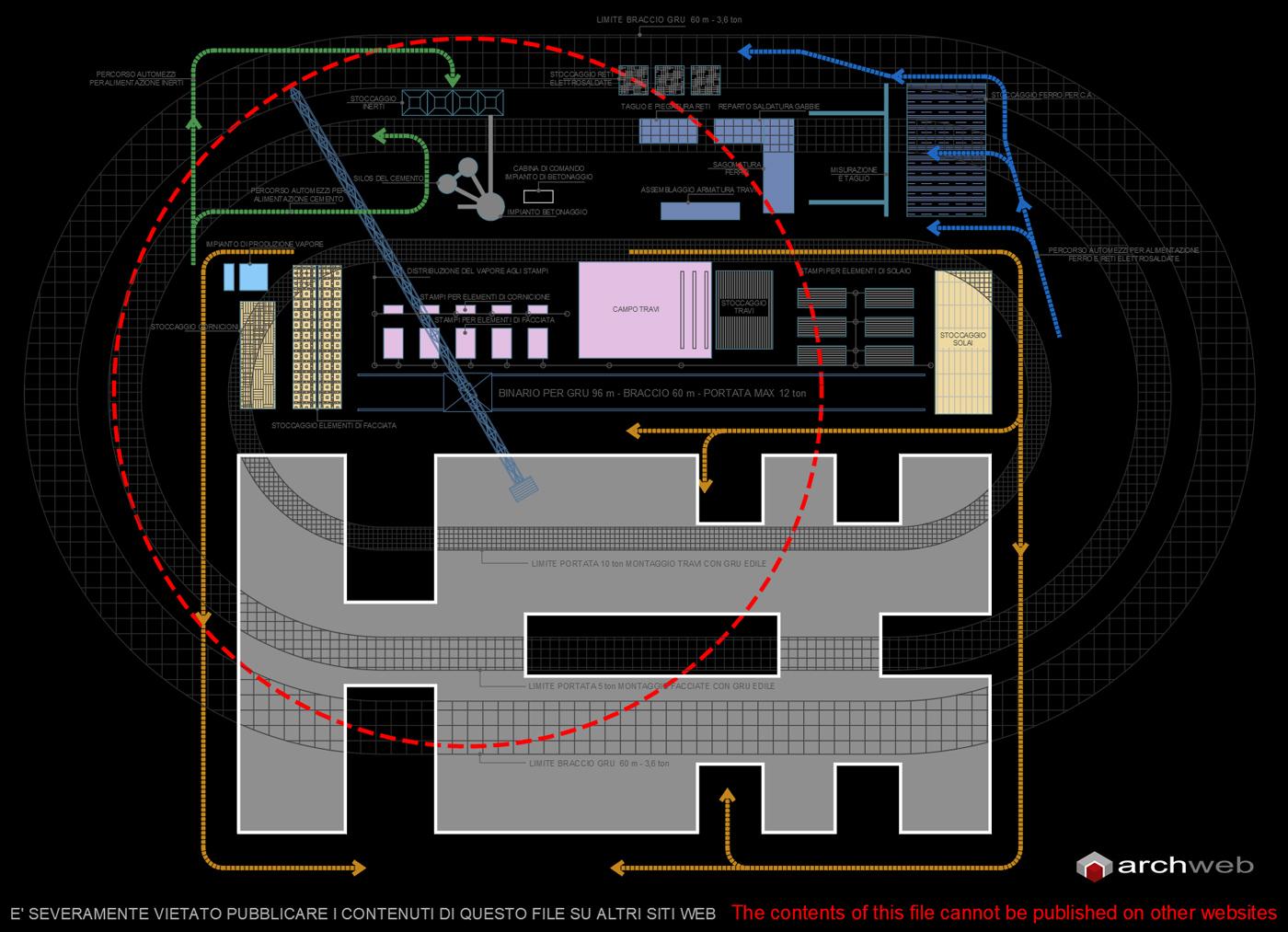 Archivio Ufficio Dwg : Planimetria sistemazione del cantiere edile