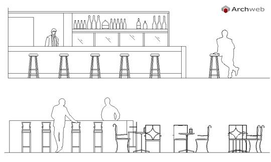 Persone sedute al tavolo al bar o ristorante for Arredo bar dwg