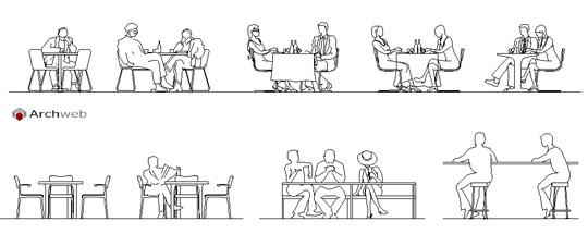 Persone sedute al tavolo al bar o ristorante for Sedute dwg