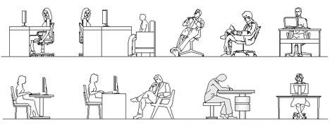 Persone sedute dwg for Disegni di uffici di garage