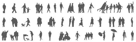 Figure umane dwg silhouette dwg for Sedute dwg