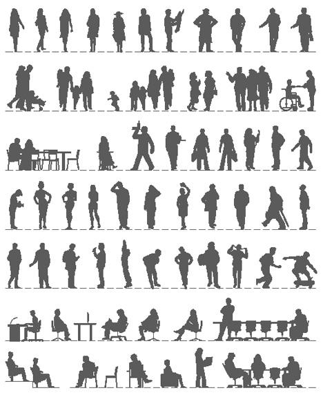 Figure Di Persone Stilizzate.Figure Umane Dwg Silhouette Dwg