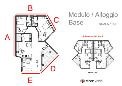 Case a schiera con un piano alloggio tipo e aggregazioni for Incredibili case a un piano