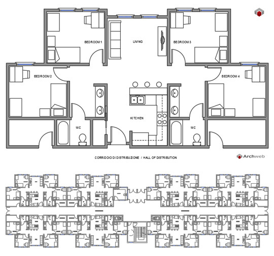 Student housing block autocad dwg for 2 progetti di piano casa bhk