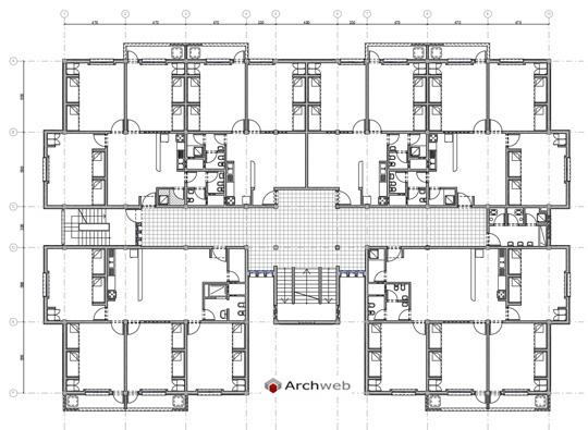 Alloggi collettivi case dello studente dwg for Planimetrie di mini palazzine