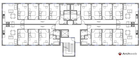 Alloggi collettivi case dello studente dwg for Ville architetti famosi