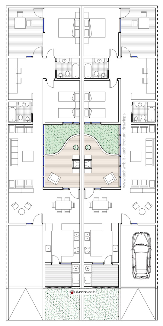 Residenze a patio 4 for Costo per costruire 5 case a schiera