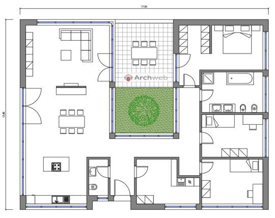 Villetta con patio 6 for Pianta villetta a schiera