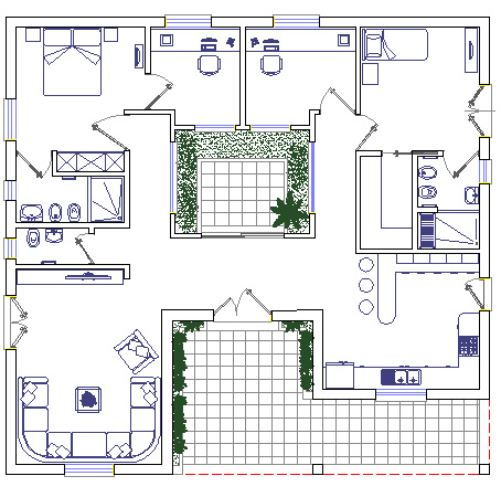 Case con patio dwg for Progetto casa autocad