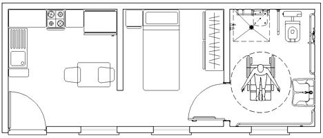 Residenze speciali alloggi per anziani dwg - Camera da letto per disabili ...