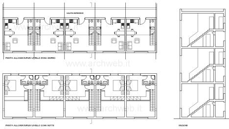 Tipologia a ballatoio dwg case a ballatoio case duplex for Esempi di disegni di planimetrie della casa
