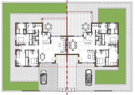Residenze bi familiari dwg for Design per la casa residenziale