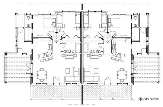 Residenze bifamiliari autocad dwg for Progetto casa autocad