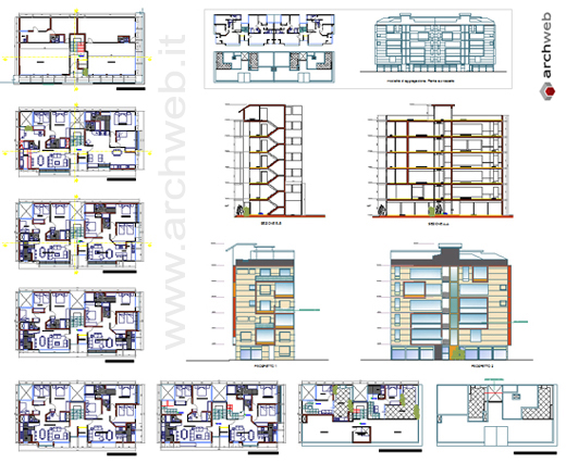 Palazzina residenziale dwg for Arredi esterni dwg