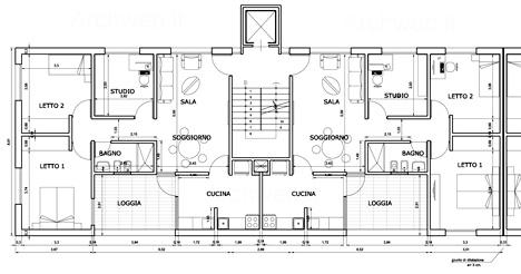 Residenze in linea dwg case in linea for Planimetrie della casa plurifamiliare