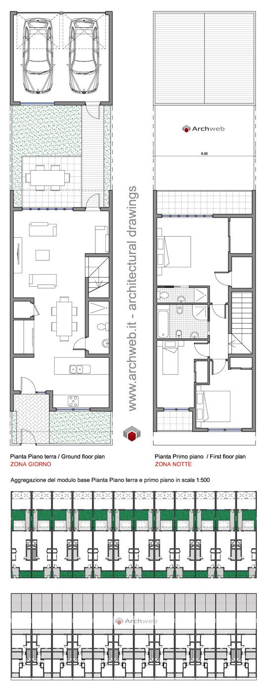 Casa a schiera con box auto for Planimetrie urbane di case a schiera