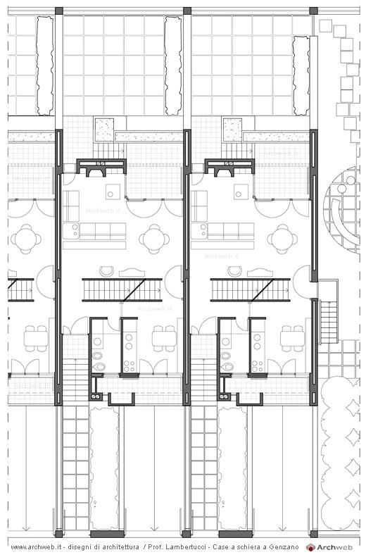 Pianta del primo piano delle famose case a schiera a for Ville architetti famosi