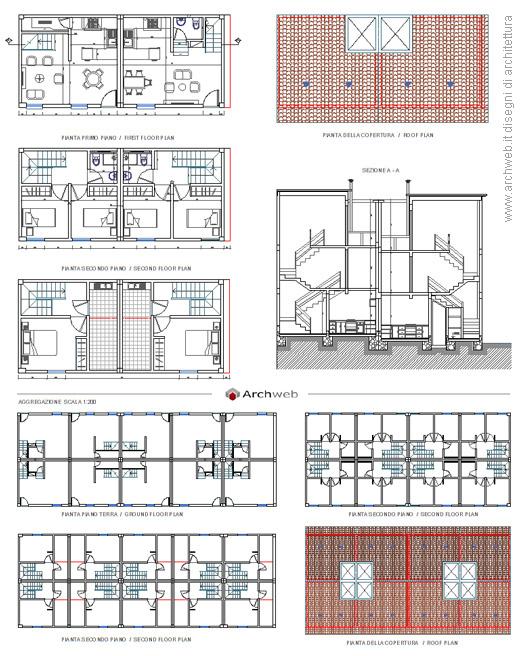Case a schiera con un piano alloggio tipo e aggregazioni for Costo per costruire 5 case a schiera