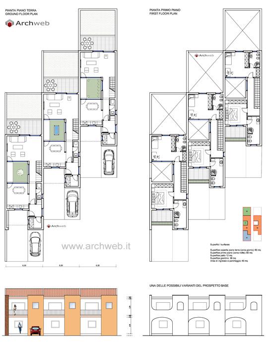 Progetto di case a schiera con patio interno for Planimetrie urbane di case a schiera