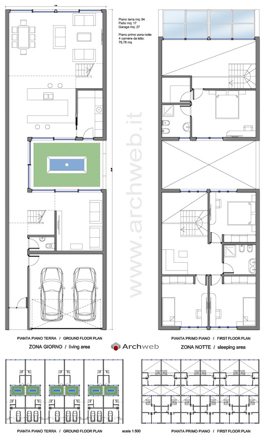 Schiera con patio interno autocad dwg for Piani di casa di 1500 mq con garage