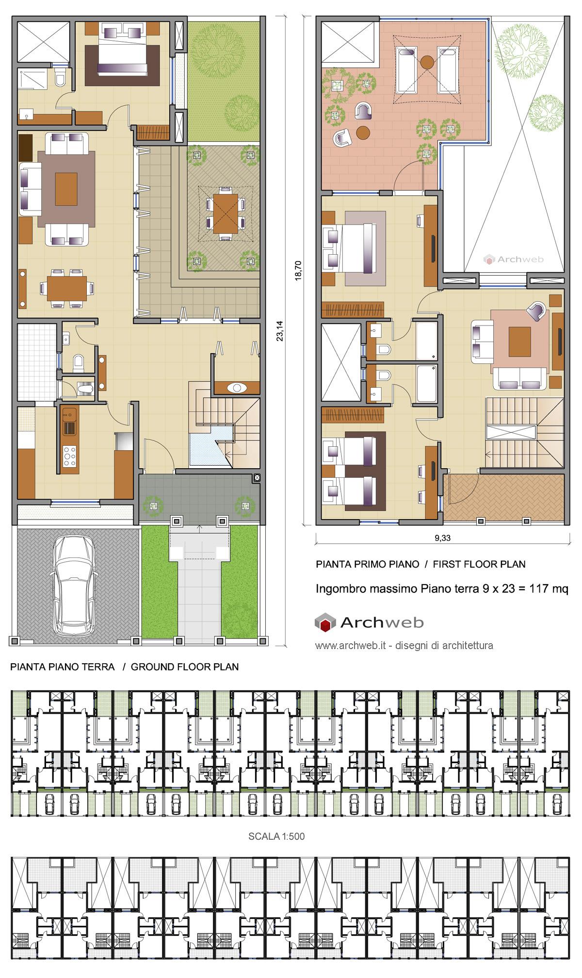 Case a schiera con un piano alloggio tipo e aggregazioni for Planimetrie virtuali per le case