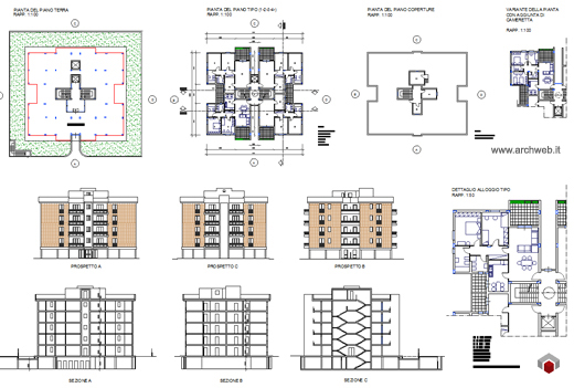 Residenze a torre disegni dwg for Residenza a 3 piani