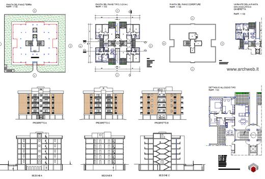 Residenze a torre disegni dwg for Design per la casa residenziale