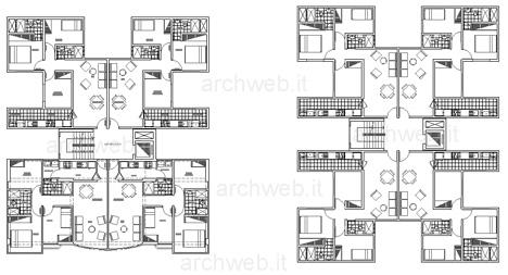 Residenze a torre disegni dwg for Piani di casa con stanza della torre
