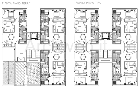 Residenze a torre disegni dwg for Monolocale dwg