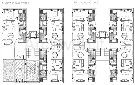 Residenze a torre disegni dwg for Disegni di piani di appartamento