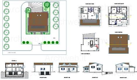 Case unifamiliari dwg for Piani tipo casa castello