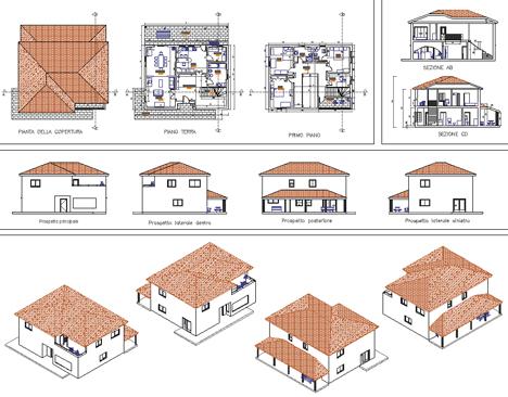 Progetto casa unifamiliare due piani dwg infissi del for Piani casa com