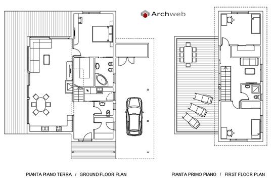 Schemi planimetrici per una villa for Piani per due box auto con appartamento sopra